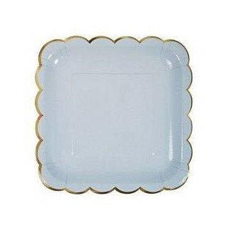 10 assiettes carrée bleu