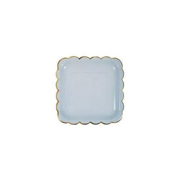 10 assiettes carrée pastel bleu
