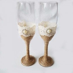 Flutes champagne mariage jute