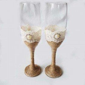 Flutes champagne mariage jute