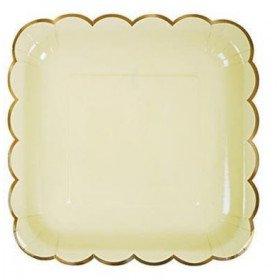 10 assiettes carrée pastel jaune
