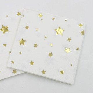 Serviette papier étoiles or x20