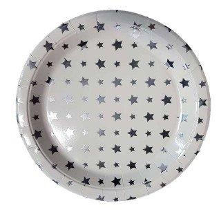 10 assiettes blanches étoiles argent
