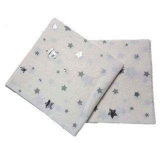 Serviette papier étoiles argent x20