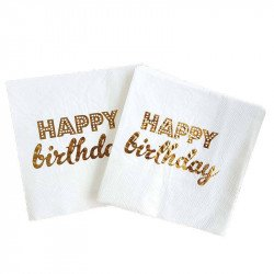 Serviette papier happy birthday blanc et or x20