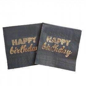 Serviette papier happy birthday noir et or x20