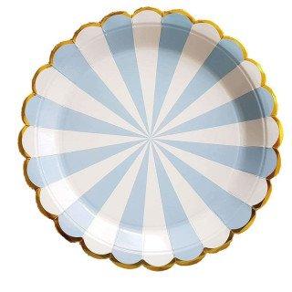 10 assiettes carton bleu pastel à rayures