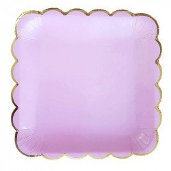 10 assiettes carrée rose pastel
