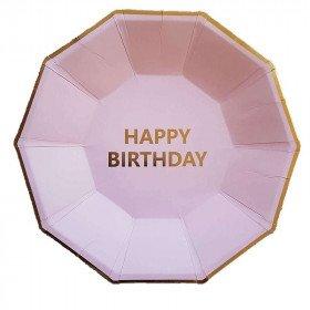 10 assiettes octogonale pêche happy birthday