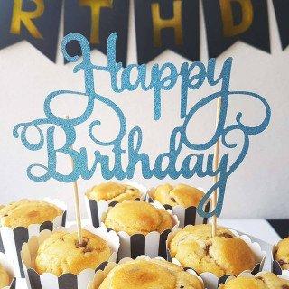 Cake topper Happy Birthday bleu