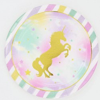10 assiettes licorne doré