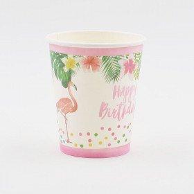Gobelets en carton flamant rose