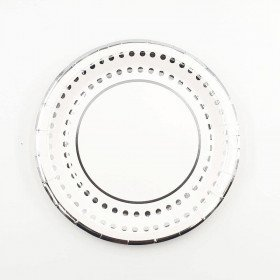 10 assiettes bord argent