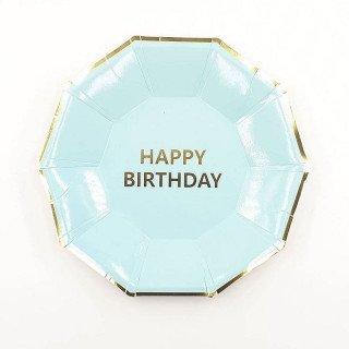10 Assiettes anniversaire bleue aqua