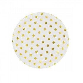 10 petites assiettes rondes blanche à pois or