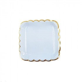 10 petites assiettes carre bleu bord doré