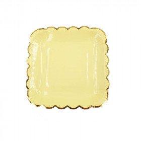10 petites assiettes carré jaune bord doré