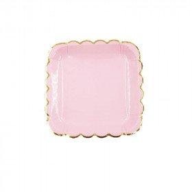 10 petites assiettes carré rose bord doré