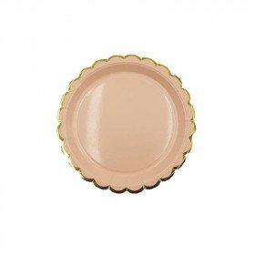 10 petites assiettes ronde pêche bord doré