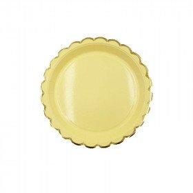 10 Petites assiettes ronde jaune bord doré