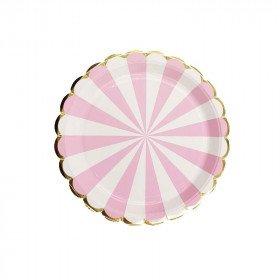 10 petites assiettes rondes à rayures rose