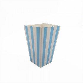 Boite pop corn  à rayures bleu  x6