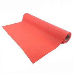 Chemin de table rouge effet tissus
