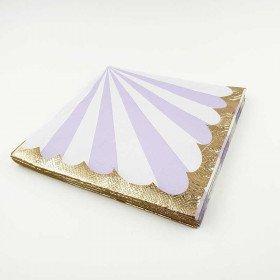Serviette papier rayures parme bord or x20
