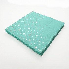Serviette papier vert d'eau avec etoile argent x20