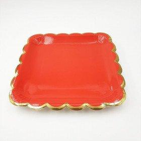 10 assiettes carrée rouge bord or 23cm