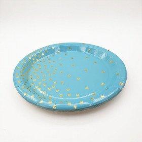 10 assiettes rondes bleu pois or 23cm