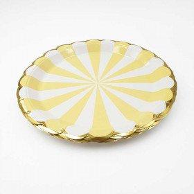 10 assiettes carton jaune à rayures bord or23cm