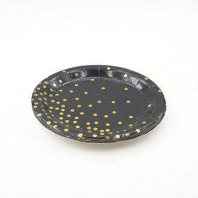 10 petites assiettes rondes noire pois or