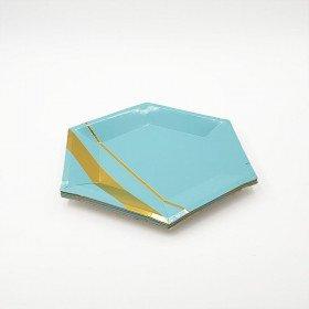 10 petites assiettes polygone bleu et or