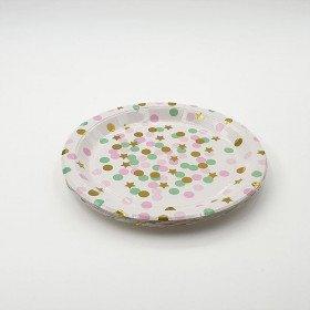 10 petites assiettes papier blanches à pois rose, vert et étoiles or