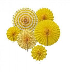 Kit 6 rosaces papier jaune