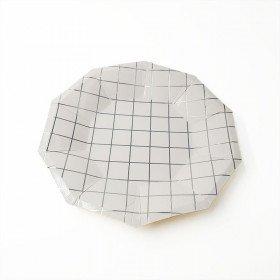 10 assiettes polygone blanche motif argent
