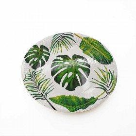 10 assiettes feuille tropicale verte