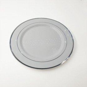 6 assiettes rondes blanches bord argent 26cm