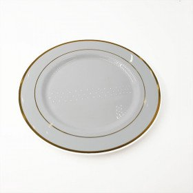 6 assiettes rondes blanches bord or 26cm