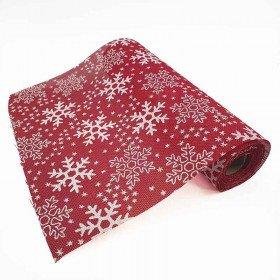 Chemin de table rouge flocon de neige