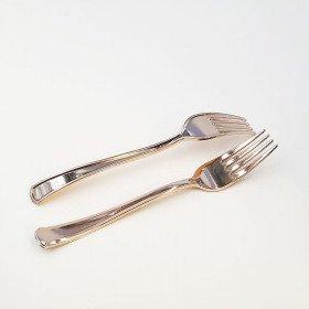 12 fourchettes plastique rose gold