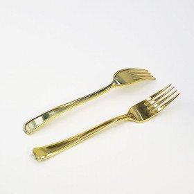 12 fourchettes plastique or