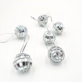 16 boules à facettes argent (diam. 2cm)