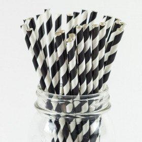 Paille rayées Noir et blancX25