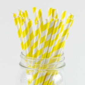 paille jaune rayéeX20