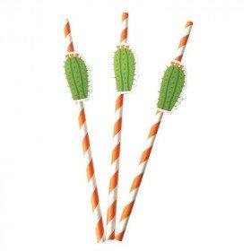 10 pailles orange à rayures cactus
