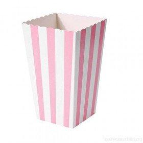 Boite pop corn  à rayures rose  x6