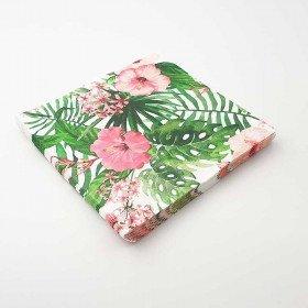 Serviettes feuilles et fleurs tropicales X20