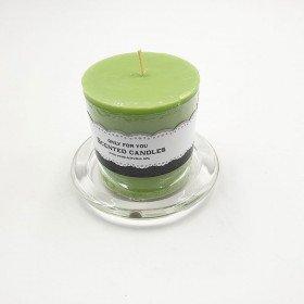 Bougie cylindrique vert anis  6.5cmX7cm